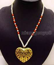 5-6mm White Round Natural Pearl 20'' necklace & Heart Elephant Pendant-n6152