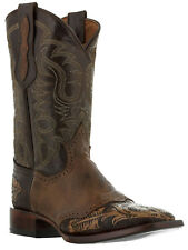 mens hand crafted tooled brown leather cowboy boots artisan ranch collection