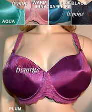18D 20D 22D QUALITY CACIQUE SATIN LACE PADDED + UNDERWIRE BRA N34 SALE Pink Teal