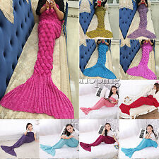 Kids Adult Mermaid Tail Blanket Crocheted Cocoon Sofa Bed Knit Lapghan Quilt Rug