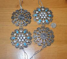 Handmade Luxury Christmas Decorations Silver & Turquoise Vintage Snowflake x4