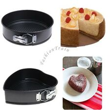 Round/Heart Shaped Removable Bottom Pan with Spring Latch Mold Cake Baking Mould