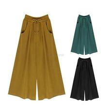 New Womens Wide Leg High Elastic Waist Casual Crop Pants Loose Culottes Trousers