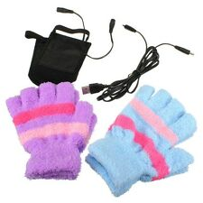 USB Autumn Winter Electric Hand Warmer Heating Heated Plush Gloves For Women