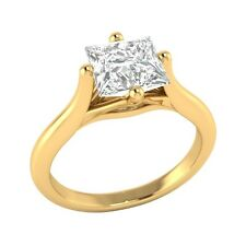 1.09 ct Princess Cut D/VVS1 Solitaire Wedding Engagement Ring Solid Gold Jewelry