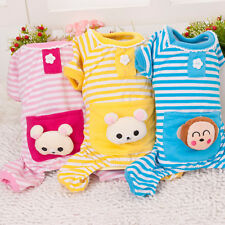 Winter Warm Small Pet Puppy Dog Stripes pajamas Coat Clothes Clothing Outfit