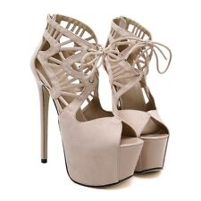 Peep Toe Sandal Hollow Out Lace Up Platform 16CM High Heel Women Suede Sexy Shoe