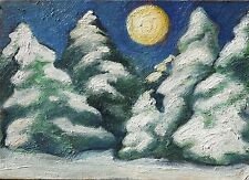 """""""FIRS AND MOON"""" , ACEO fantasy Original OIL PAINTING ,DORA PILSSALA"""
