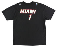 Adidas Mens Miami Heat NBA Chris Bosh Name and Number T Shirt Black