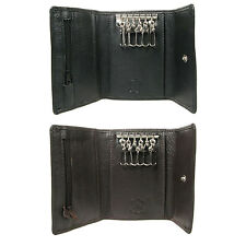 Men Women Black Brown Luxury Leather Key Case Holder Credit Card Wallet 0121