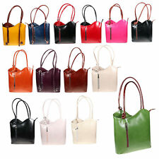 New Womens Colourful Genuine Italian Leather Shoulder Handbag and Backpack H006