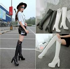 Womens Sexy Over Knee Thigh Long Boots Block High Heels Platform Ruched Shoes