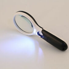 3 LED Light 5X/ 45X Handheld Magnifier Reading Magnifying Glass Jewelry Loupe GE
