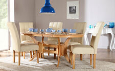 Townhouse & Carrick Extending Oak Finish Dining Table and 4 6 Chairs Set (Ivory)