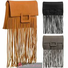 NEW LADIES FRINGE TASSEL DESIGN FAUX LEATHER PARTY CLUTCH BAG HANDBAG