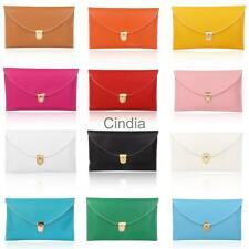 Ladies Leather Style Envelope Clutch Bag Purse with Chain