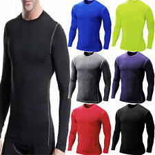 Compression Mens Long Sleeve Top Shirt Base Layer Thermal Sport Cycling Gym Wear