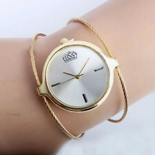 Women's Steel Wire Round Dial Hour Analog Quartz Bracelet Bangle Wrist Watch Pop