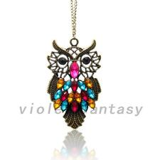 Crystal Rhinestone Cute Owl Bronze Statement Chain Pendant Necklace Accessories