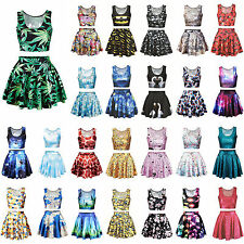 Womens Digital Print Two Piece Set Crop Top & Skirt Skater Mini Dress Set Outfit