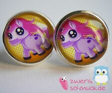 Cabochon Studs Pony Comic Horse Sweet Filly Kids Girls silver