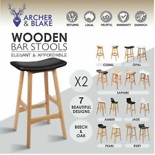 2 Oak Beech Wood Bar Stools Wooden Dining Chairs Kitchen Side Black White Timber