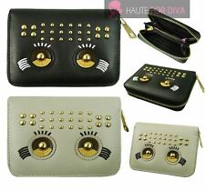NEW WOMEN'S EYES DETAIL FAUX LEATHER STUDDED WALLET COIN ZIP POCKET PURSE