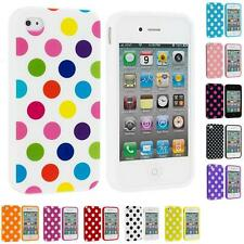 For iPhone 4 4S 4G Polka Dot TPU Color Rubber Skin Case Cover Accessory
