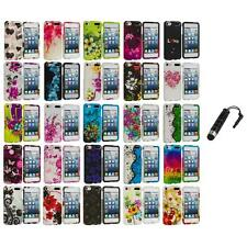 Flower Design Hard Rubberized Case Cover+Stylus Plug for iPod Touch 5th Gen 5G