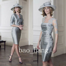 Silver Mother of Bride Formal Dresses Jacket Suit Sleeves Party Gown Knee Length