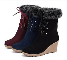 Women Winter Ankle Boot Lace Up Wedge Heel Faux Suede Rabbit fur Snow Boot Shoes