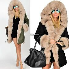 Women Ladies Winter Long Warm Thick Parka Faux Fur Jacket Hooded Coat 2016 BF9