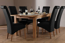 Harrison & Richmond Extending Oak Dining Room Table and 4 6 Chairs Set (Black)