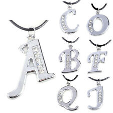 1 Pcs Letter Necklace Crystal Women Fashion Pendant Initial Jewelry Silver A-Z
