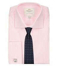 Hawes & Curtis Mens Bengal Stripe Classic Fit Shirt Double Cuff Easy Iron