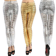 Women Leggings Sexy Punk Metallic Look Fish Scale Pants Hole Rock Tight Hollow