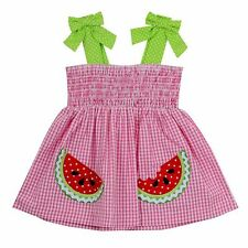 Infant Girl Rare Editions Watermelon Gingham Seersucker Dress Sizes 12 18 24 Mo.