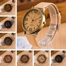Casual Jewelry Wooden Leather Strap Quartz Analog Wristwatch