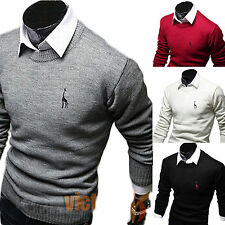 New Mens Polo Neck Knit Slim Fit Pullover Jumpers Sweater Casual Long Sleeve Top