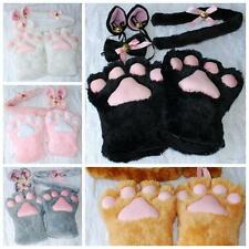 Set Halloween Plush Cosplay Costume Paw Claw Gloves Cat Ears Tail Bow-tie