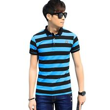 DZW Casual Turn Down Collar Short Sleeve Color Striped Polo Shirt for Men