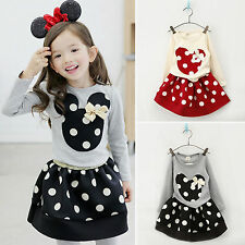 Kids Girl Minnie Mouse Polka Dots 2Pcs Set Long Sleeve Top + Skirt Outfits Dress