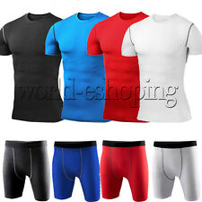 Men Compression Armour Base Layer Tight Tops Shirt Shorts Pants Athletic Apparel