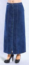 Women Plus Size Denim Skirt Button Down Casual Skirt 95 cm Long