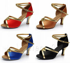 Women Lady's Ballroom Latin Tango Dance Shoes Heeled Salsa Colorful Shoes