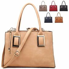 Ladies Fx Leather Diamante Clasp Style Handbag Evening Shoulder Bag Tote MA34529
