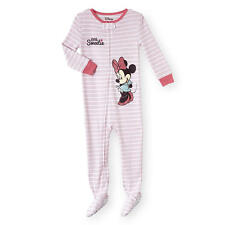 """Disney Baby 1 Piece Minnie Mouse """"Little Sweetie"""" Stripe Footed Pajama"""