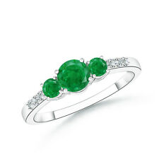 Round Three Stone Emerald Ring With Diamond Accents 14k White Yellow Gold Size 7