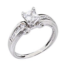 White Gold Plated Women's Wedding Engagement Ring Princess CZ Bride Promise Ring