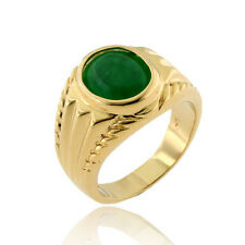 14k Gold Plated Women Wedding Green Emerald Simulated Solitaire Engagement Ring